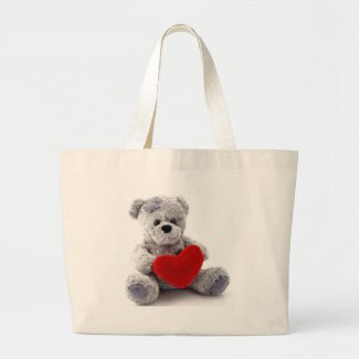 Grey Bear With Heart bag