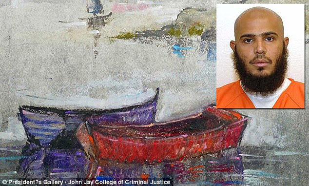 The art of the Guantanamo Bay detainees  Untitled (Red and Purple Boat) by Ghaleb Al-Bihani