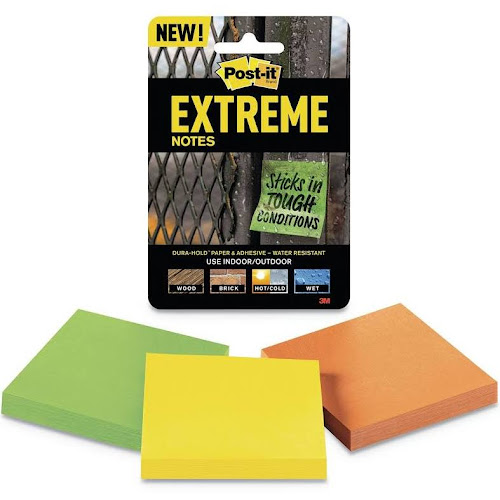 Post-it Extreme - Notes - 3 in x 3 in - 135 sheets (3 x 45) - yellow, green, orange