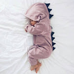 PatPat Lovely Dino Hooded Long-sleeve One Piece for Baby unisex 6-9 Mo Light Purple Bodysuits