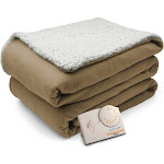 Biddeford Comfort Knit Natural Sherpa Electric Heated Blanket Full Taupe