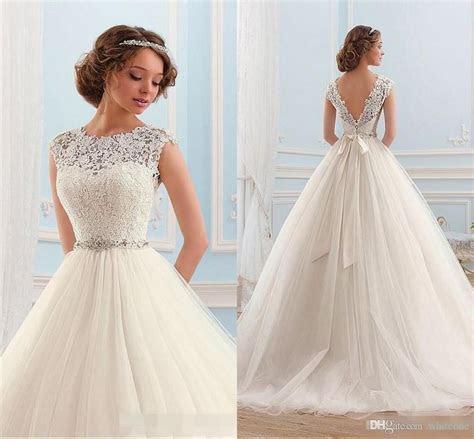 Discount Vintage 2016 A Line Wedding Dresses Cap Sleeves