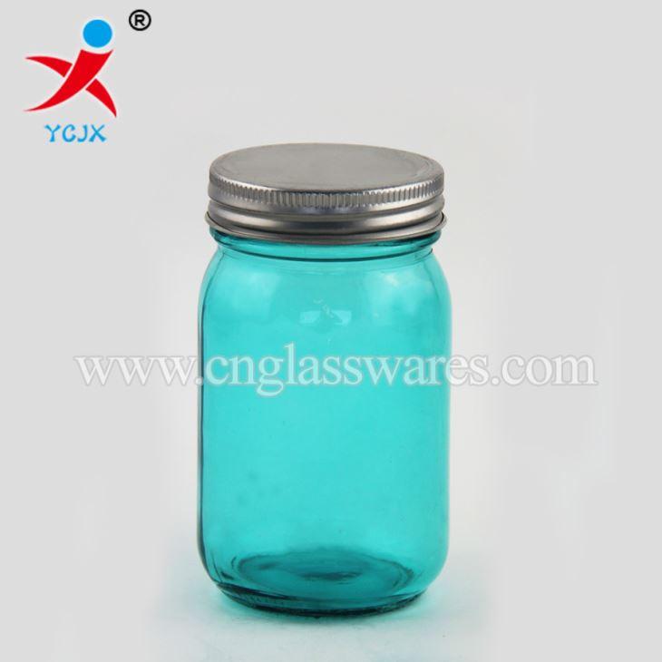 450ml Pembe Ve Mavi Renk şeffaf Cam Metal Kapakları Toz Boya Renk