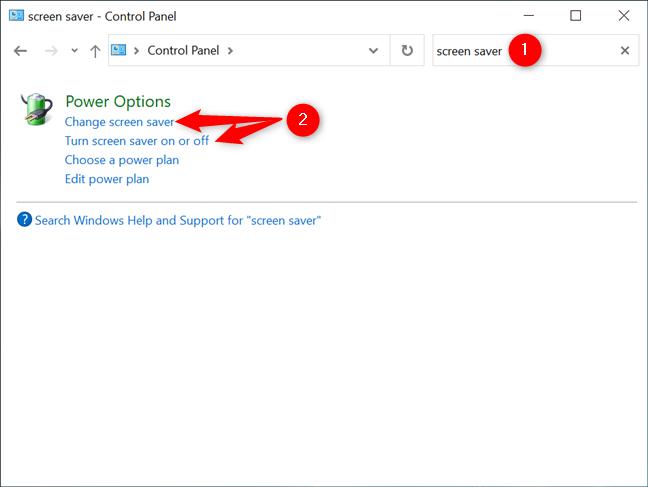 Abra la configuración del protector de pantalla de Windows 10 desde el Panel de control