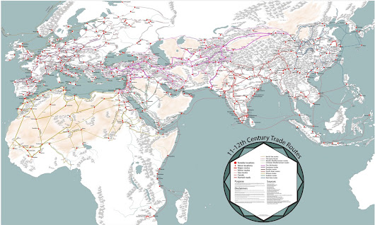 A Detailed Map of Medieval Trade Routes in Europe, Asia, and Africa