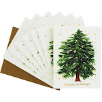 Waste Not Paper Starry Tree Holiday Card 10 Pack