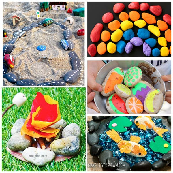Play pretend painted rocks for kids