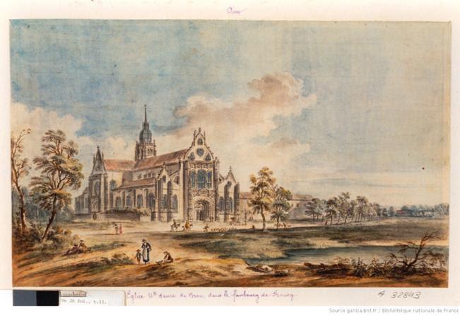 [Eglise Notre-Dame de Brou dans le faubourg de Bourg-en-Bresse] : [dessin] / Lallemand