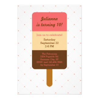 Popsicle Birthday Invitation Custom Announcement