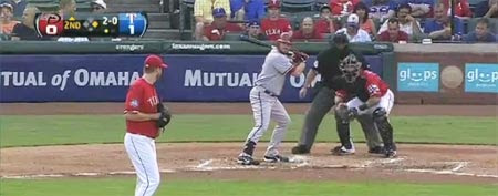 Arizona's Jason Kubel faces Scott Feldman of the Rangers (Y! Sports screengrab)