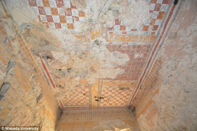 The ceiling of the tomb (pictured) was colourfully decorated in a style that is typical of the Ramesside period between 1292–1069 BC, according to the researchers