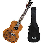 Luna Guitars Mahogany Concert Tatoo Ukulele with Gig Bag