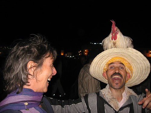 Wendi with the chicken man in the square