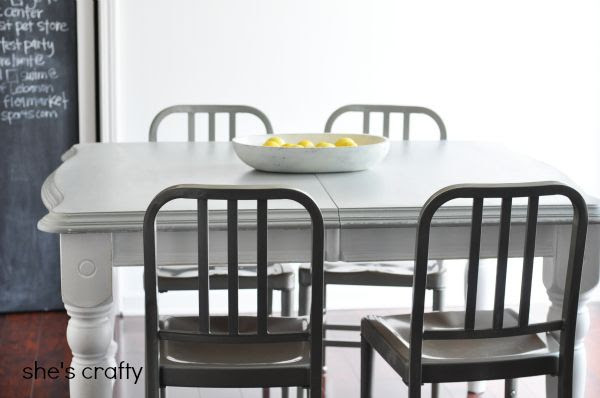 painted furniture, gray table, gray and white table, how to paint a kitchen table