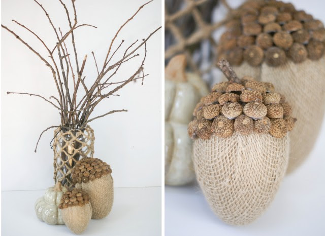 Decorating with burlap acorns