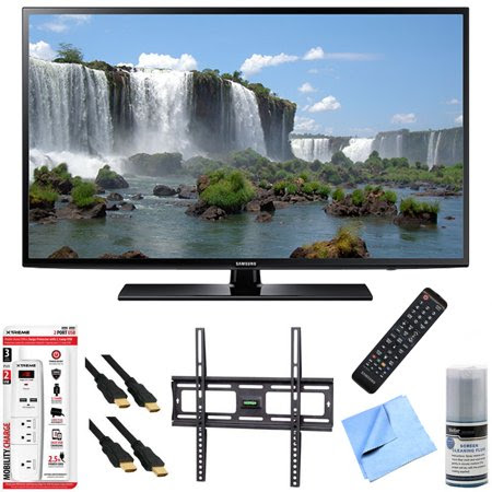 Samsung UN48J6200 - 48-Inch Full HD 1080p 120hz Smart LED HDTV Mount & Hook-Up Bundle includes UN48J6200 48-Inch 120hz Full HD 1080p Smart TV, Flat Wall Mount Kit, 6 Outlet\/2 USB Wall Tap and Microfi