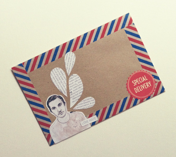 "OOAK Mail Art Piece - ""love hate"""