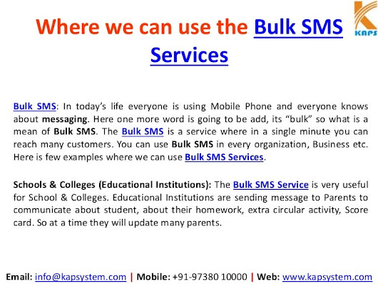 Where we can use bulk sms services