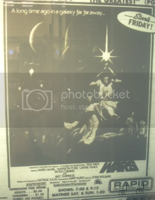First Star Wars movie ad ran in Rapid City June 30, 1977