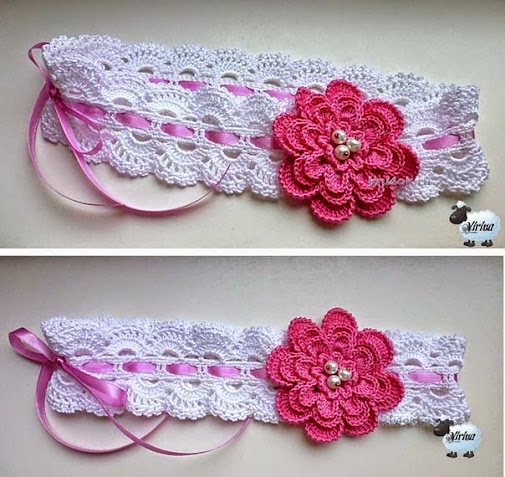 Patrón crochet de vincha con flor Para acompañar vestidos o ...