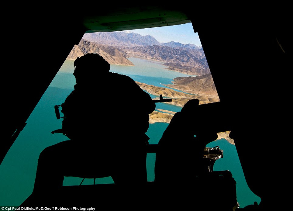 Rear View by Cpl Paul Oldfield, shows US Deputy Secretary of Defence Ashton Carter flying over Kajakai Dam, Helmand Province, Afghanistan, with Major John A. Toolan, commander, Regional Command (Southwest)