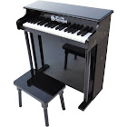 Schoenhut 6637B 37-Key Black Traditional Deluxe Spinet Piano, Black