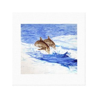 Two Dolphins Watercolor Canvas Print