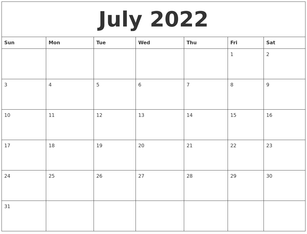 july 2022 free monthly printable calendar