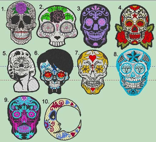 Sugar Skull Patch Designs Embroidery machine embroidery