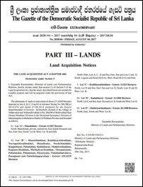 Gazette notification announcing the seizure of Mu'l'livaaykkaal lands