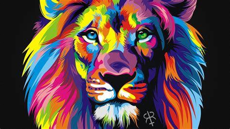 rainbow lion desktop pc  mac wallpaper