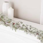 Snowy Cedar and Berry Garland, 51'' long, Green, Craft Supplies