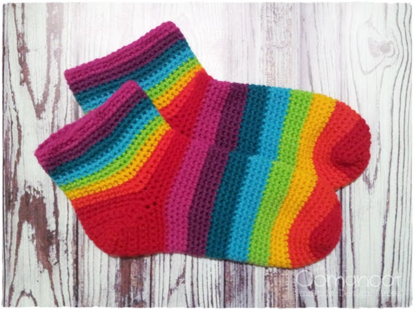 Rainbow Socks Crochet Tutorial