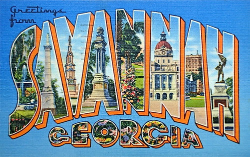 Greetings from Savannah Georgia postcard
