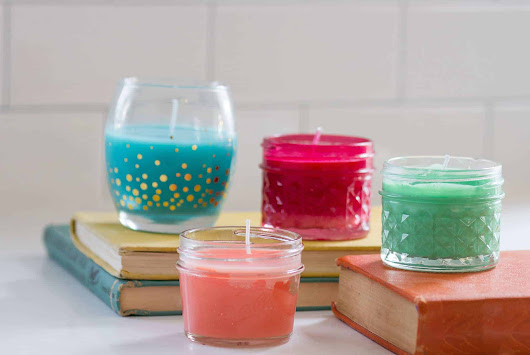 colorful, quick and easy DIY no wax candles tutorial