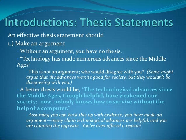 a good thesis statement for a research paper