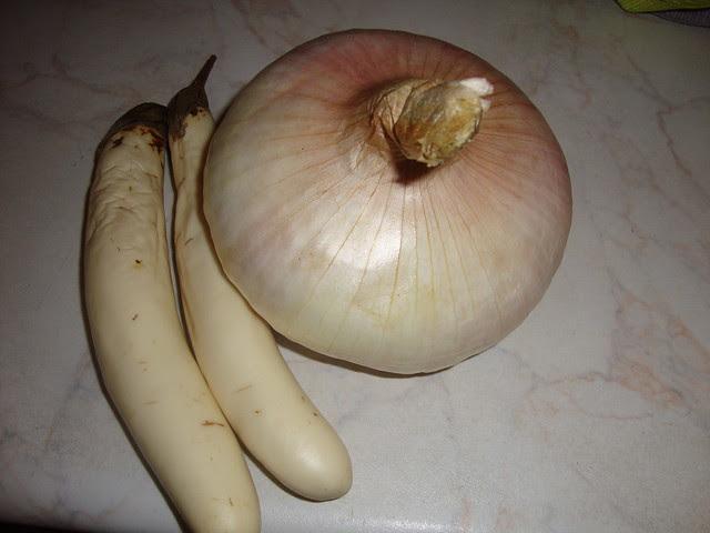 leeks from zakinthos and white eggplants