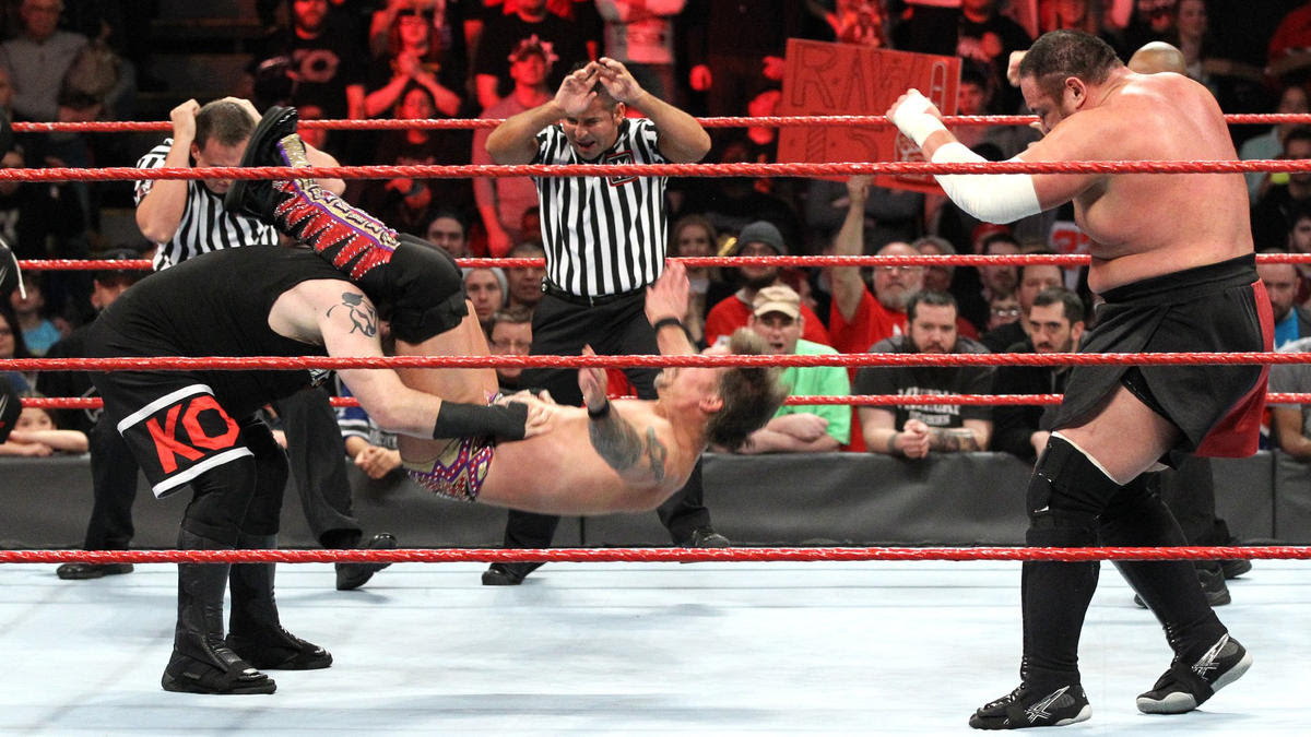 Owens plants Jericho with the Pop-up Powerbomb.