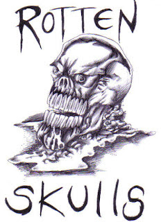 Rotten skull biro ink drawing