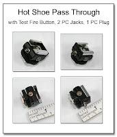 PJ1068: Hot Shoe Pass Through with Test Fire Button, 2 PC Jacks, 1 PC Plug