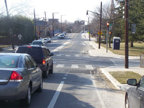 Looking west, bicycle lane and bulbouts, Monroe Street NE, Brookland, Washington, DC