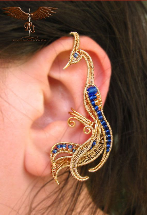 Golden peacock ear cuff by RockTime on Etsy, $35.00