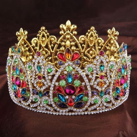 3 1/2 Inch Height Big King Queen Golden Full Crowns