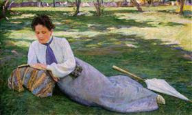 The woman reading in the garden - Yeghishe Tadevosyan