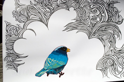 Blue Bird Day Dream - original art drawing on watercolor paper - 13 by 19 inches