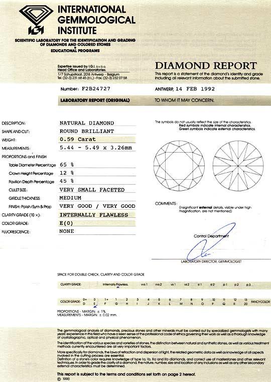 Gutachten 1, Zertifikat Laborbericht Expertise, gemmological report