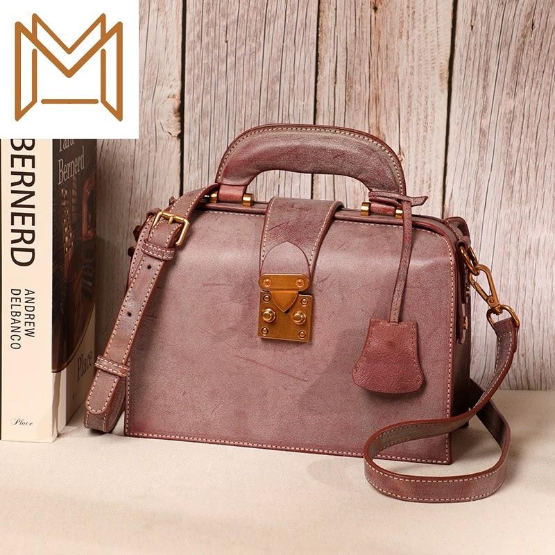 NEW Bag Woman 2019 Manual Genuine Leather Woman Layer Cowhide Wax Single Shoulder Satchel Handbag Tide