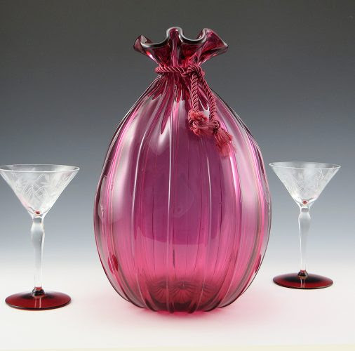 Vintage Cranberry Glass Bag Vase Pre-1970 by Pilgrim Art Glass -...