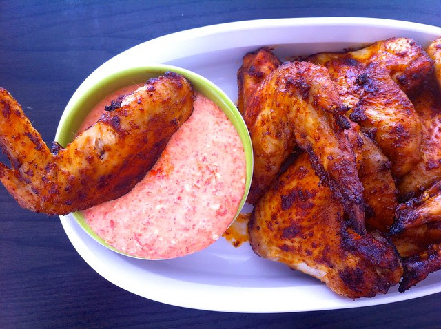 Baked Chicken Wings with Roasted Red Pepper Dipping Sauce Closeup