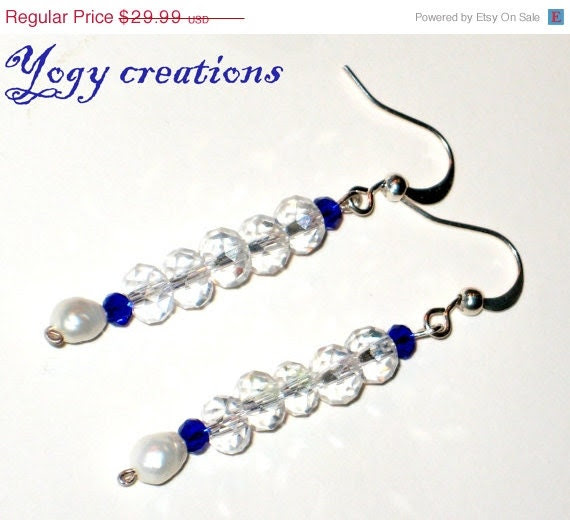 SALE 10% Off White blue glass crystal drop silver earrings jewelry gift
